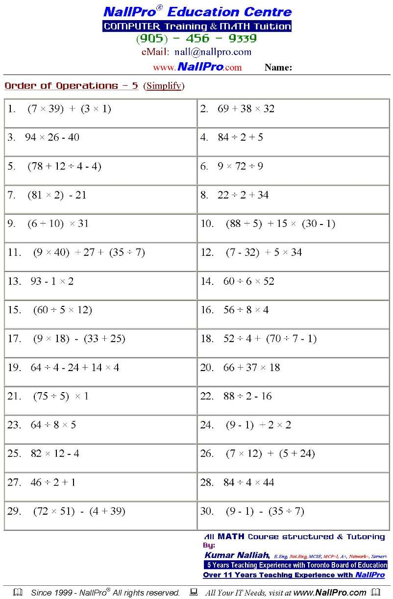 Free Math Worksheets For Grade Algebra Intrepidpath Intrepidpath