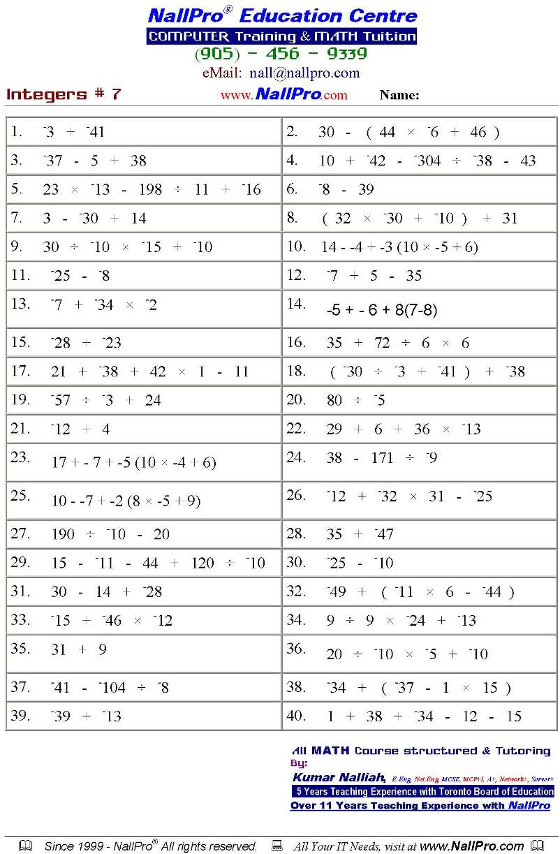 Maths Worksheets For Class 8 Icse – Maths Worksheets for Class 7
